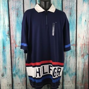 Tommy Hilfiger XL Blue Spellout Striped Zip Neck